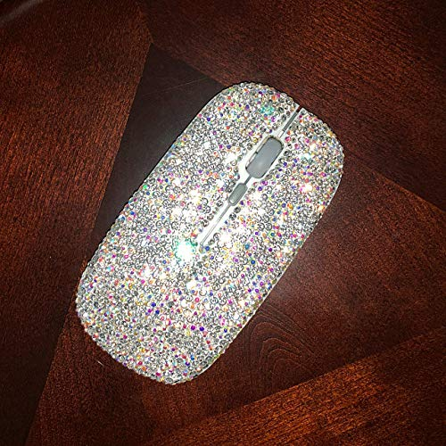 TISHAA Bling Dazzling Wireless Mouse Covered with Rhinestone Crystal with USB Receiver,Great Gift idea for Her ()