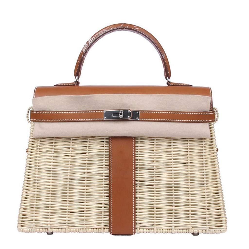 Yilian yecanbeibao Handmade Rattan Picnic Bag Ladies Leather Handbags Travel Beach Bag