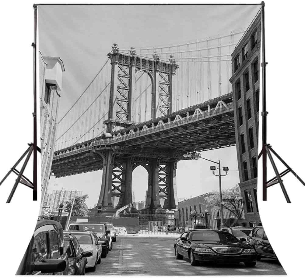 Landscape 6.5x10 FT Photography Backdrop Brooklyn New York USA Landmark Bridge Street with Cars Photo Background for Child Baby Shower Photo Vinyl Studio Prop Photobooth Photoshoot