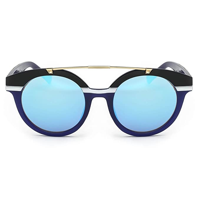 ca46424ea2 Amazon.com: Eyepster Reflective Mirrored Lens Double Bridge Nautical ...