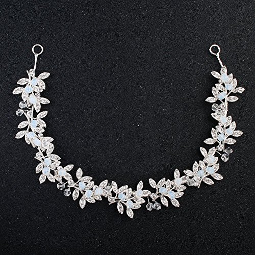 - Oriamour Silver Crystal Wedding Headband Bridal Headpiece Floral Leaves Design With Clear Blue Beads Bridal Hair Accessories