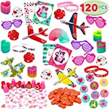 120+Pcs Happy Valentines Day Party Favor Supplies Set includes Heart Glasses, Bracelet,