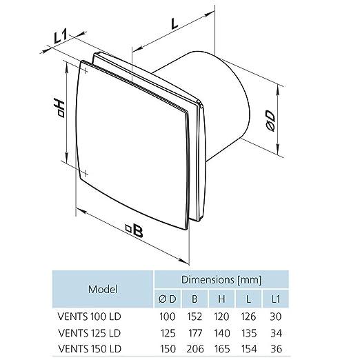 Ventilador/Ventilador/WC Baño Ventilador/mayor Marca de calidad europea Vents LD a 125 temporizador Hydro aluminio frontal Diámetro 125 mm/Silencioso y ...