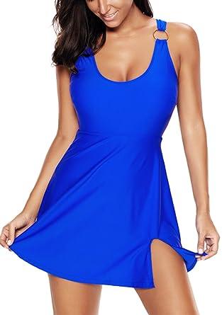 Leslady Damen Badekleid Tankini Bauchweg Effekt Elegante Badeanzug mit Röckchen  Schwimmkleid  Amazon.de  Bekleidung ae1335295f