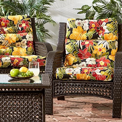 Greendale Home Fashions AZ6809S2-ALOHA-BLACK Aloha Outdoor High Back Chair Cushion Set of 2