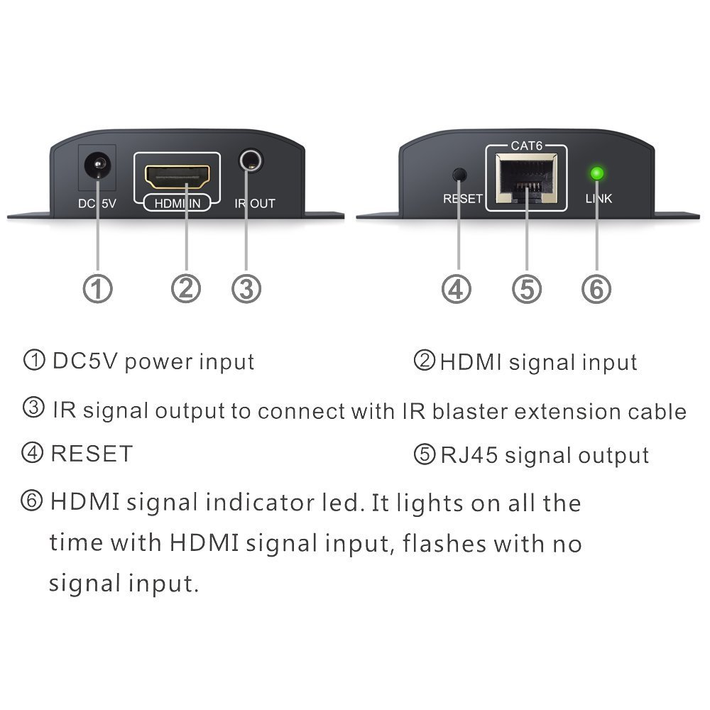 HDMI Extender Neoteck 60M HDMI Ethernet Network Extender 192ft 1080P HDMI  Repeater with IR Remote Control Over Single RJ45 Cat6/7 Cable Support PC  DVD