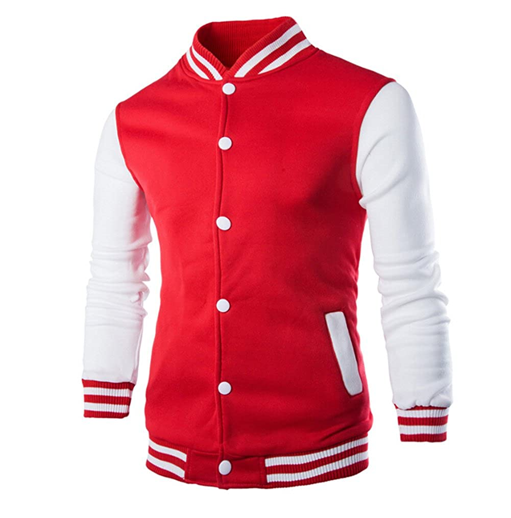 RUEWEY Men's Button Front Slim Fit Warm Sweatshirt Baseball Varsity Jacket