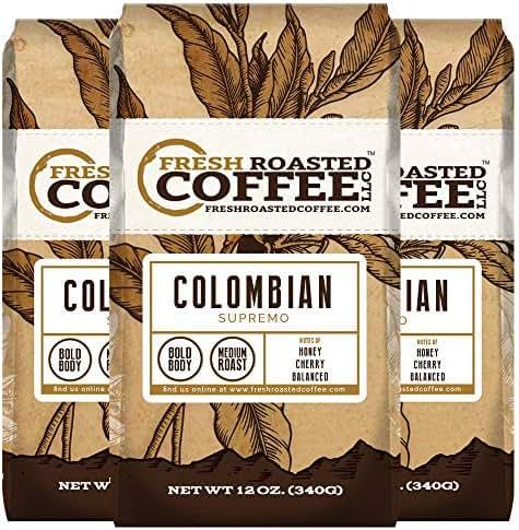 Fresh Roasted Coffee LLC, Decaffeinated Colombian Coffee, Medium Roast, Whole Bean, 2 Pound Bag