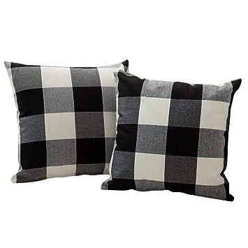 Kissenbezug Kissenhülle 45x45cm leinenoptik beige schwarz braun grau Baumwolle