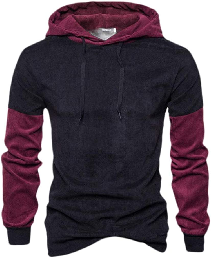 Joe Wenko Men Long Sleeve Pullover Corduroy Top Hoodie Classic Contrast Color Sweatshirts