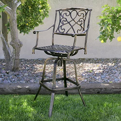 Best Choice Products Outdoor Cast Aluminum Swivel Patio Bar Stool w Antique Design and Footrest, Copper