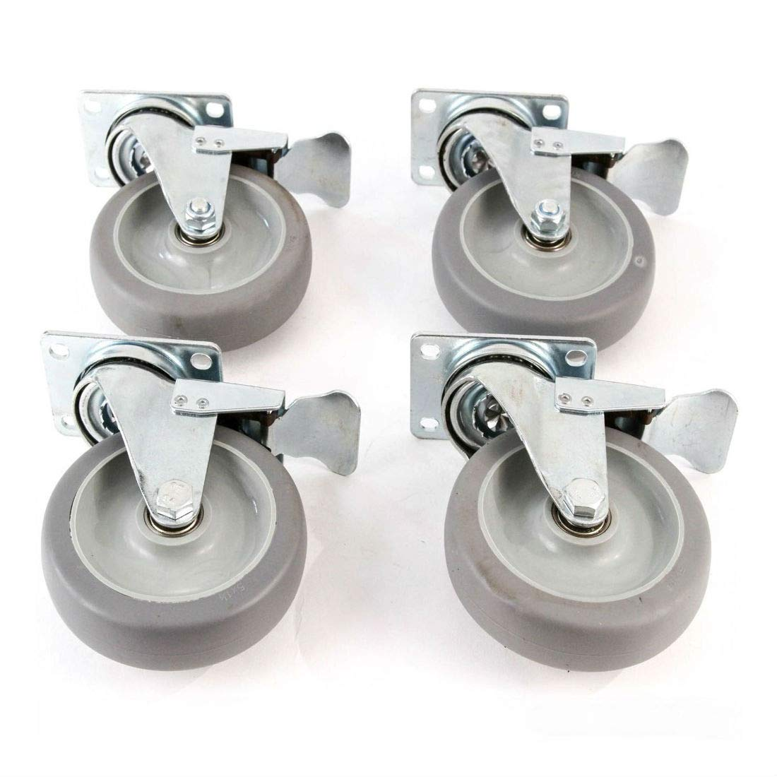 4 Heavy Duty Caster Set 5'' Wheels All Swivel All Brake Casters Non Skid No Mark