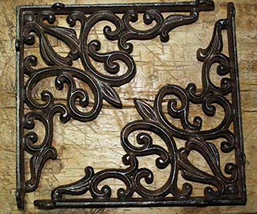 4 Cast Iron Antique Style HEART Brackets Garden Braces RUSTIC Shelf Bracket , Garden Braces Shelf Bracket , Garden Braces Shelf Bracket RUSTIC , Wall Brackets Shelf Support for Storage by New