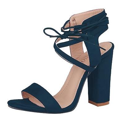 Meedot Damen Sandalen Riemchen Schuhe Blockabsatz Sandalette High Heels Sandaletten Offene Abendschuhe Sommerschuhe...