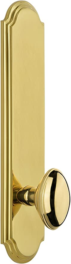 Grandeur 814514 Arc Plate Privacy with Portofino Lever in Polished Brass 2.75