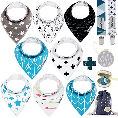 (Baby Bandana Drool Bibs by Dodo Babies + 2 Pacifier Clips + Pacifier Case In a Gift Bag, Pack of 8 Premium Quality For Boys or Girls , Excellent Baby Shower / Registry Gift)