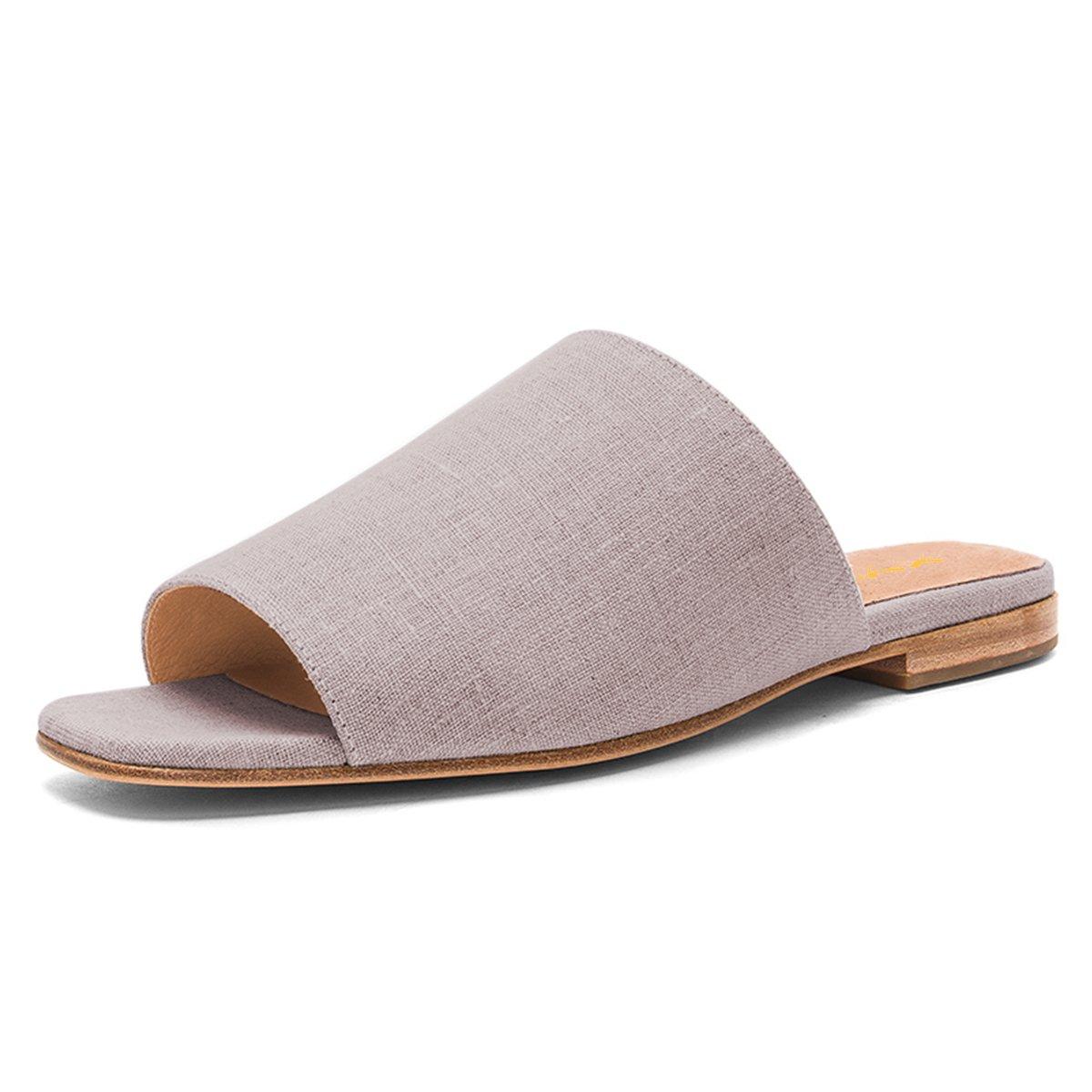 XYD Women Fashion Open Toe Mule Slide Sandal Flats Slip On Backless Summer Slipper Shoes Size 8 Gray