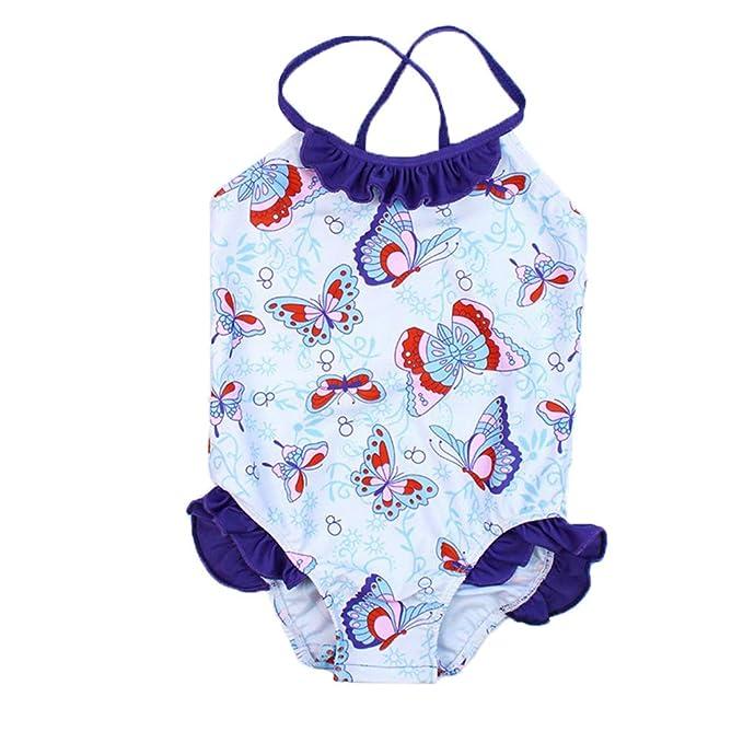 Amazon.com: Bañador de una pieza para niñas con diseño de ...