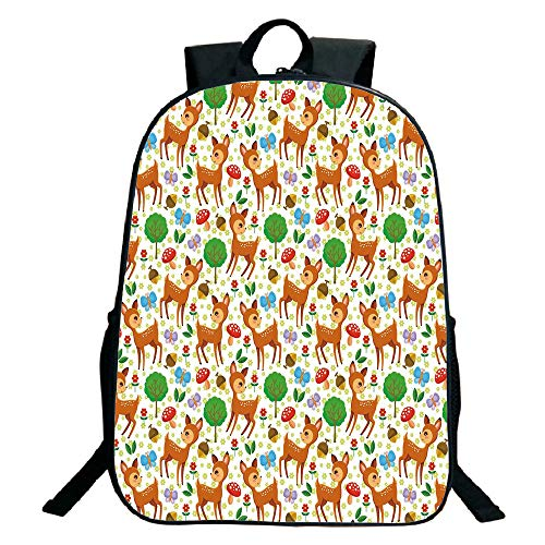 3D Print Design Black School Bag,backpacksCartoon Animal,Baby Deer and Other Forest Elements Mushrooms Butterflies Flowers and Nuts Decorative,Multicolor,for Kids,Personalized Design.15.7'x 11.8'x 5.1