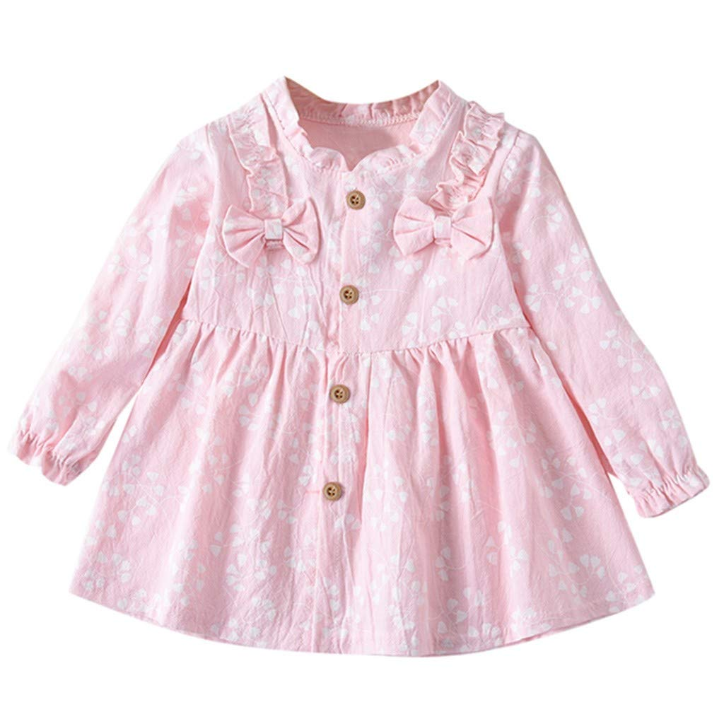 Sacherron Tech Skirt child Toddler Baby Girls Long Sleeve Solid Ruched Floral Dressed Clothes Solid Color Bow Flower Print Princess Dress
