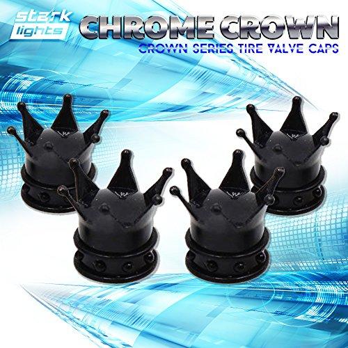 Crown Valve Caps - Black Crown Tire Wheel Stem Air Valve Caps Car Truck Hot Rod Bike US - 4PCS Set