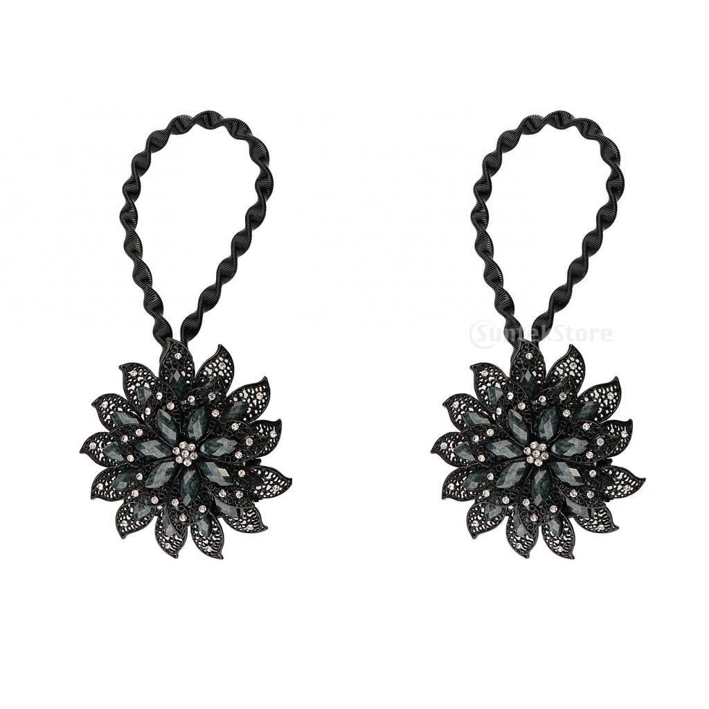 MagiDeal 2pcs Boucle de Rideau Magnétique de Fleur en Diamant/Métal Cravate Embrasse pour Rideaux