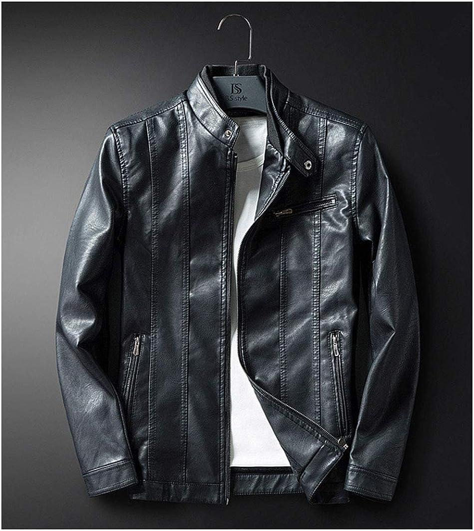 ZSCRL Chaqueta de Cuero Casual para Hombres, versión Coreana de la Delgada y Elegante Chaqueta de Cuero Juvenil Negro