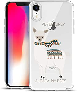 Unov Case Compatible with iPhone XR Case Clear with Design Slim Protective Soft TPU Bumper Embossed Pattern 6.1 Inch (Alpaca Bags)