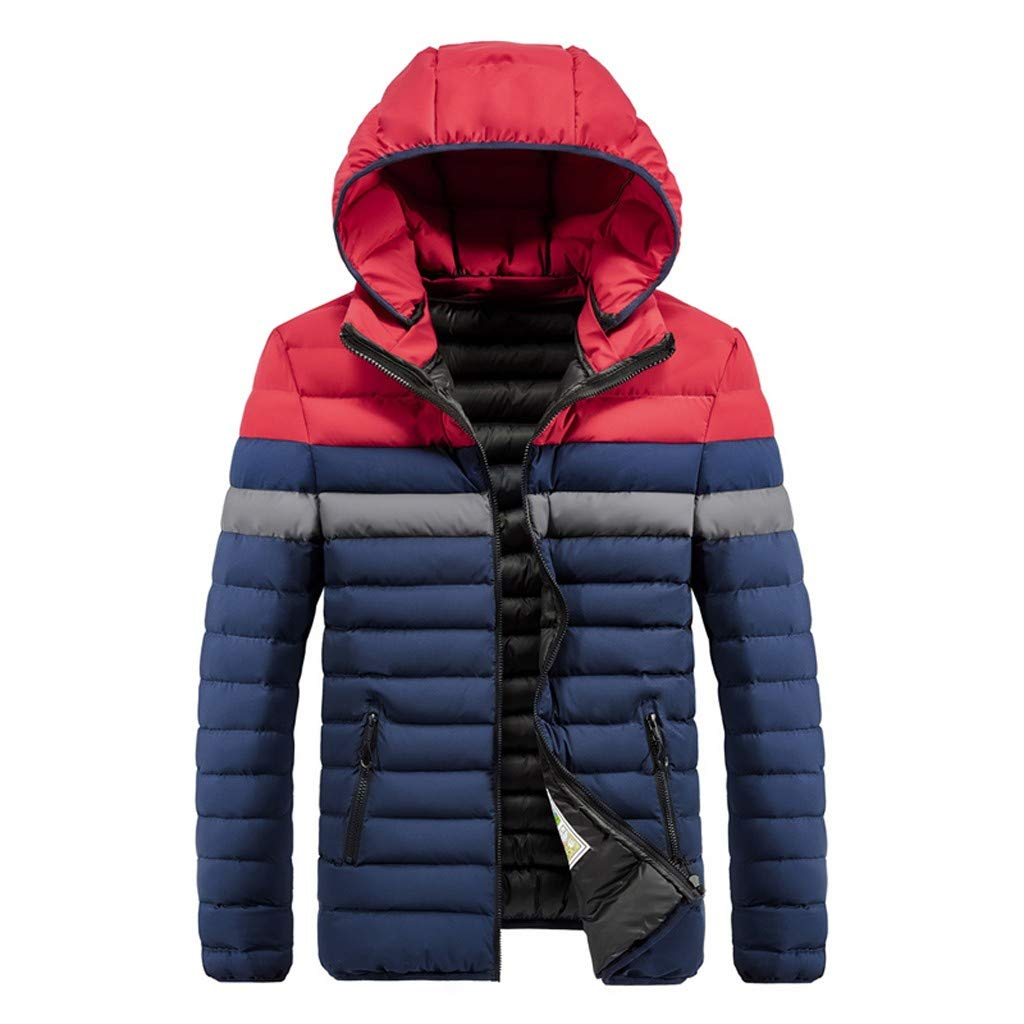 Alalaso Men's Winter Splicing Hoodie Patchwork Thickened Cotton Padded Coat Red by Alalaso