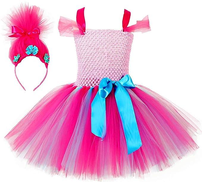 9967434894a74 Amazon.com: Tutu Dreams Girls Poppy Troll Costume with Wig Headband  Birthday Halloween Carnival Party: Clothing