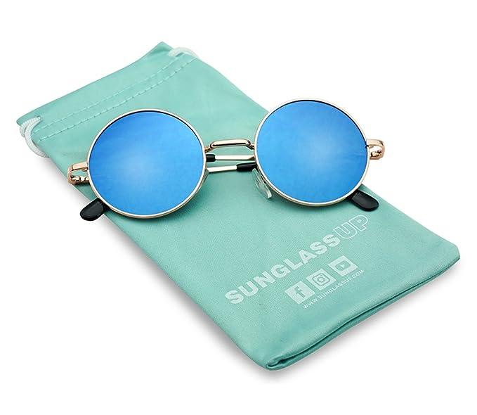 d3e64ca07 70s Hippie Boho Novelty Cosplay Halloween John Lennon Gold Frame Blue  Reflective Flat Mirror Lens Sunglasses