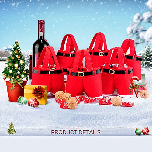 Christmas Santa Pants Gift and Treat Bag Holiday Candy Basket Wine Bottle Totes Gift Wrap For Wedding (Small, (Holiday Wine Basket)