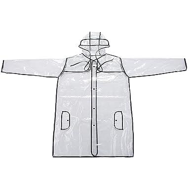 ff7e67cf356ad Popamazing New Light Weight Rain Coat Poncho Waterproof Festival Camping  Hiking Hooded Cape Transparent PVC: Amazon.co.uk: Clothing