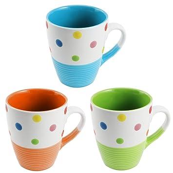 COM-FOUR® 3x Kaffebecher bunt, mit Punkten verziert, blau, grün ...