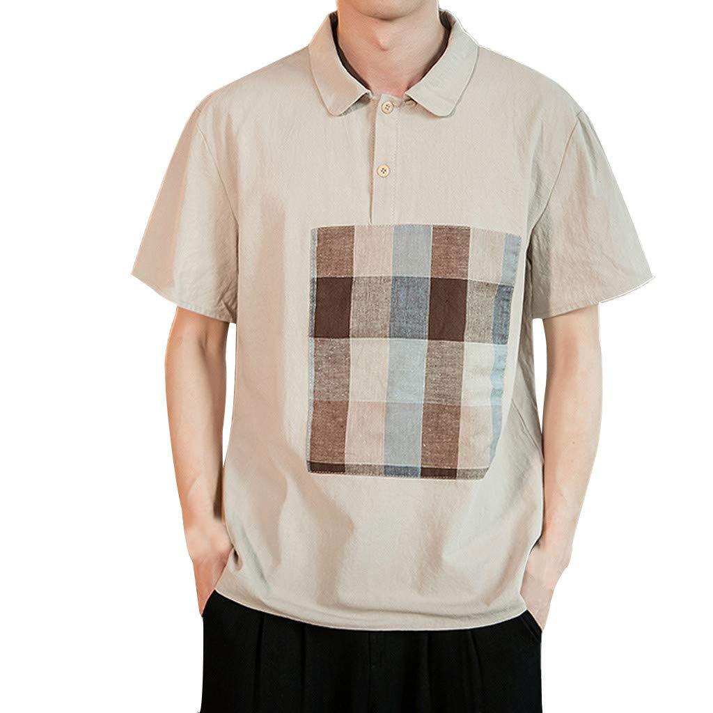 Kawaiine Men's Casual Large Size Cotton Linen Patchwork O-Collar Sport Slim Short Sleeve T Shirts Top Blouse Khaki