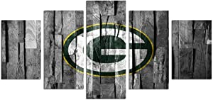 Canvas Wall Art Picture Prints on Canvas Green Bay American NFL Football Team Logo 5 Piece Artwork Stretched Framed Ready to Hang Canvas Art for Home Decoration Sincin-100x55 cm