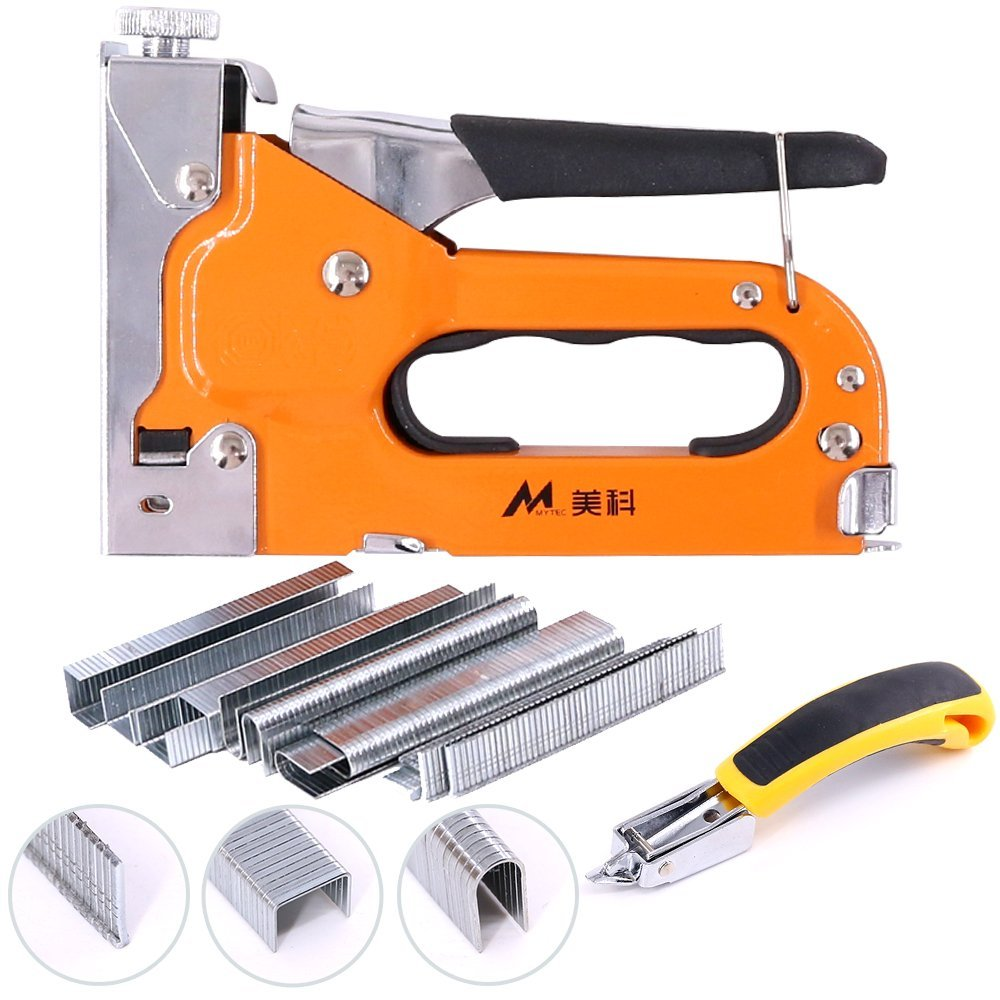 Swpeet 3-in-1 Staple Gun Kit with Staple Remover and 600 Staples Selection Pack,Hand Operated Carbon Steel Gun Tacker Tool for Upholstery, Fixing Material, Decoration, Carpentry, Furniture