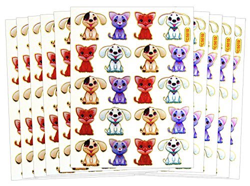 ST-DOGCUTE - 10 Sheets Cute Dog Sticker Self-adhesive Glitter Metallic Foil Reflective Sticker Decorative Scrapbook for Kid, Birthday, Photo, Card, Diary, (Tiny Happy Puppy)