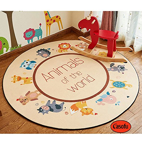 CASOFU Cute Cartoon Animals Children Bedroom Carpet Living Dining Bathroom Mats for Baby Creeping Mat (Circle,47 inches,#01)
