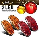 Partsam (2 Amber + 2 Red) 2.54x1.06 side marker light (amber/red lens)