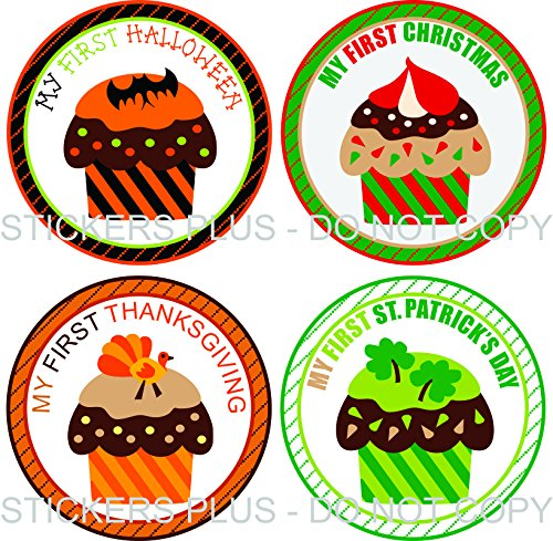 Neutral Baby Girl or Boy First Holiday Stickers Baby Milestone Stickers Cupcake First Christmas First Day of School Halloween Easter Thanksgiving St. Patrick's Day Valentine's Day (Cupcakes Halloween Photos)