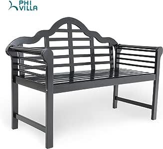 PHI VILLA Outdoor Patio Bench for Backyard, Garden, Lawn, Farmhouse, Acacia Wooden Bench with Backrest and Armrests, Black