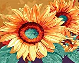 TianMai New Paint by Number Kits - Sunflower 16x20 inch Linen Canvas Paintworks - Digital Oil Painting Canvas Kits for Adults Children Kids Decorations Christmas Gifts (No Frame, 003)