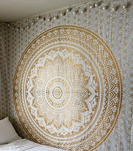 Queen Large Golden Ombre Tapestry wall hanging Gold tapestry Dorm Decor Mandala Tapestry Metallic Hippy Wall Art Psychedeic Hippie Wall Hanging Bohemian Bedspread (Metallic Tapestry)