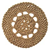 Round Openwork Jute Area Rug - Minimalist - Handmade Crochet with Natural Fiber - 34''