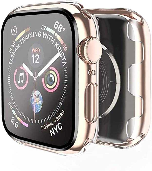 Smiling Case for Apple Watch Series 3 & Series 2 38mm with Built in Screen Protector-All Around Hard PC Case with Tempered Glass Screen Protector Overall Protective Cover for iwatch 38mm (Clear, 38mm)