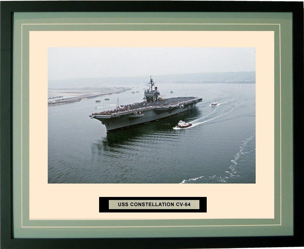 海軍Emporium – USS Constellationコンステレーション – Framed – フォト – Engraved出荷名前 – ダブルマット – 写真 – 16 x 20 – 154 cv64 20