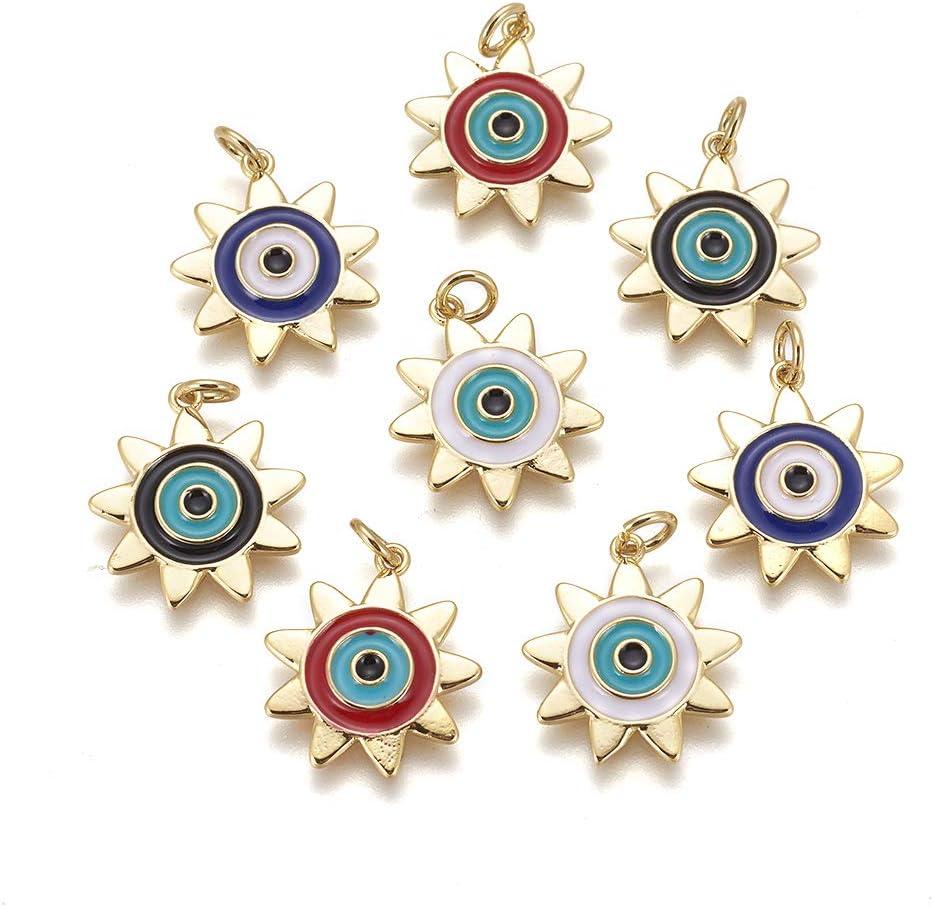 UR URLIFEHALL Lot de 10 pendentifs en laiton /émail soleil avec oeil pour la fabrication de bijoux DIY Artisanat Couleur al/éatoire 19 x 17 mm