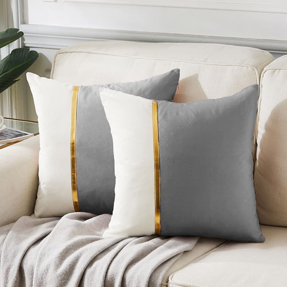 Fancy Homi 2 Packs Decorative Throw Pillow Covers 20x20 Inch for Living Room Couch Bed, Grey and White Velvet Patchwork with Gold Leather, Luxury Modern Home Decor, Accent Cushion Case 50x50 cm