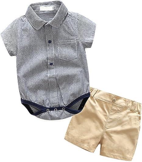 Runyue Conjunto De Bebé Niño Chicos Manga Corta Blusa Camisas ...